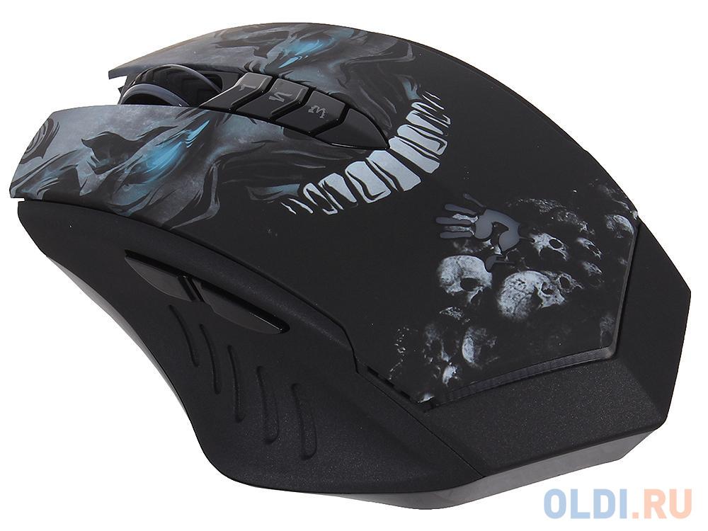 Мышь A4Tech R80 Bloody SKULL игровая б/провод,метал ножк,черн, с подсветкой, размерL,Holeless, 4000dpi, 5 mod, 8 кн, 160kb memory, 30G/sec, 125-1000hz недорого