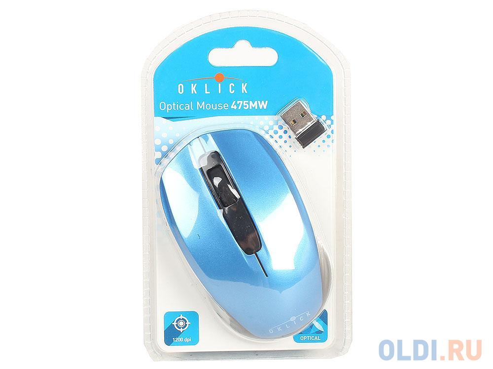 Фото - Мышь Oklick 475MW черный/синий оптическая (1200dpi) беспроводная USB (2but) мышь oklick 665mw оптическая черная