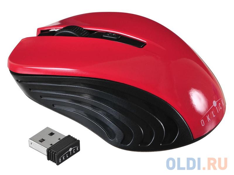 Фото - Мышь Oklick 545MW черный/красный оптическая (1600dpi) беспроводная USB (4but) мышь oklick 665mw оптическая черная