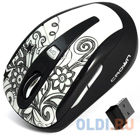 Мышь беспроводная Crown CMM-927W белый USB мышь беспроводная crown cmm 928w bear usb
