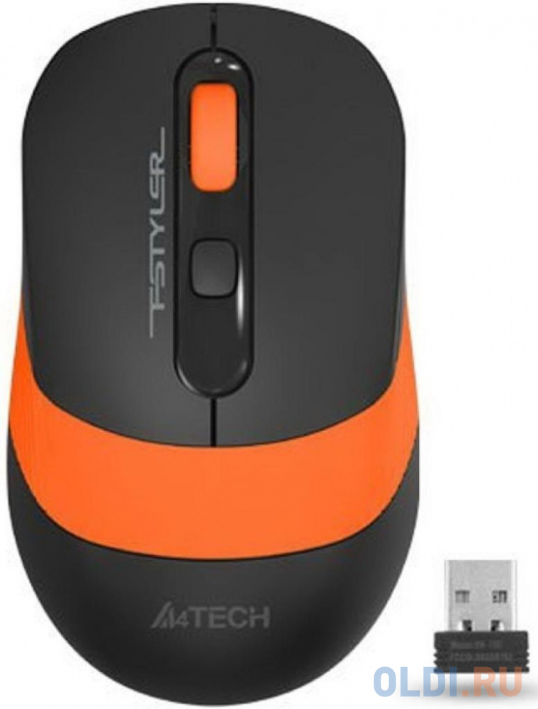 Фото - Мышь A4 Fstyler FG10S черный/оранжевый оптическая (2000dpi) silent беспроводная USB (4but) мышь a4tech fstyler fg10 черный оранжевый оптическая 2000dpi беспроводная usb 4but