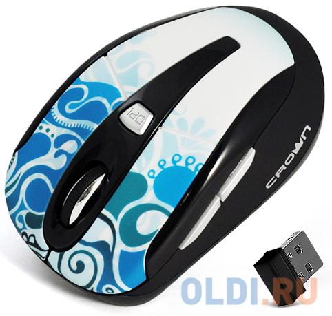 Фото - Мышь беспроводная Crown CMM-927W синий USB мышь проводная crown cmm 960 health чёрный usb