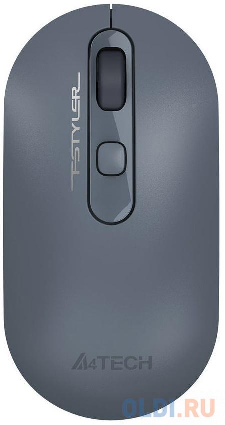 Мышь A4 Fstyler FG20 пепельный/синий оптическая (2000dpi) беспроводная USB для ноутбука (4but)