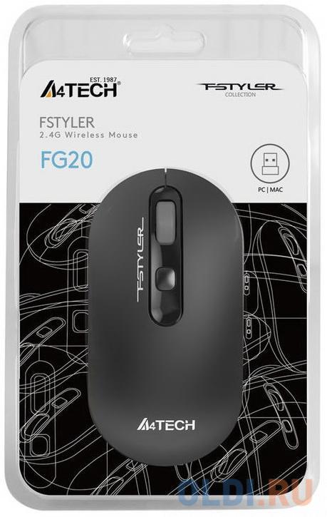 Мышь A4 Fstyler FG20 серый оптическая (2000dpi) беспроводная USB для ноутбука (4but)
