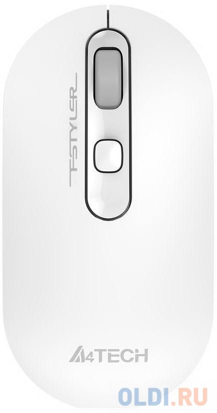 Мышь A4 Fstyler FG20 белый оптическая (2000dpi) беспроводная USB для ноутбука (4but)