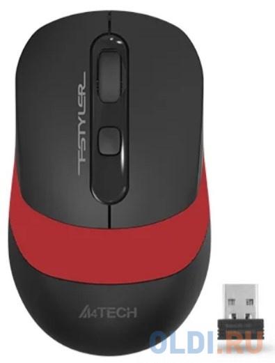 Фото - Мышь A4 Fstyler FG10 черный/красный оптическая (2000dpi) беспроводная USB (4but) мышь a4tech fstyler fg10 черный оранжевый оптическая 2000dpi беспроводная usb 4but