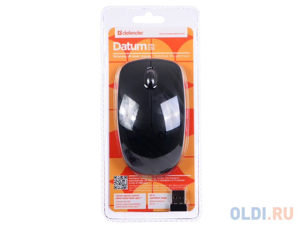 Мышь беспроводная Defender Datum MM-035 Black USB(Radio) фото