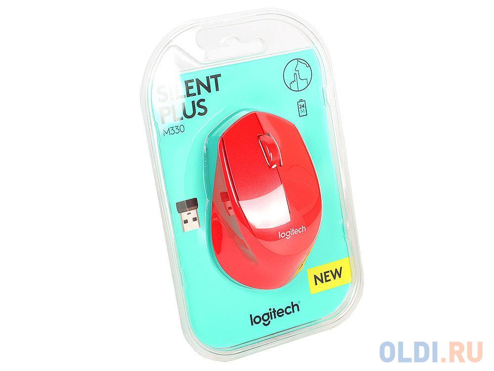 Мышь (910-004911) Logitech Wireless Mouse M330 SILENT PLUS Red
