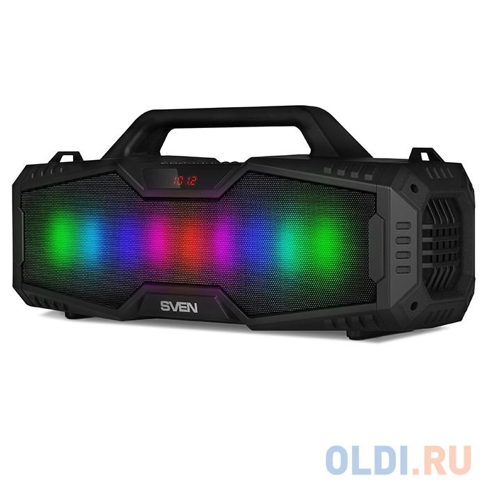 Фото - Колонки Sven PS-480, черный, (2.0, мощность 2x12 Вт (RMS), Bluetooth, FM, USB, microSD, LED-дисплей, встроенный аккумулятор) колонки defender x420 чёрный 2x12 вт 16 вт 20 20 000 гц bluetooth fm mp3 sd usb ду