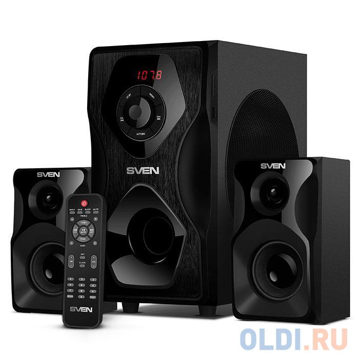 Фото - Колонки Sven MS-2055,2.1 чёрный ((RMS):30Вт + 2x12.5 Вт, FM-тюнер, USB/SD, дисплей, пульт ДУ, Bluetooth) колонки defender x420 чёрный 2x12 вт 16 вт 20 20 000 гц bluetooth fm mp3 sd usb ду