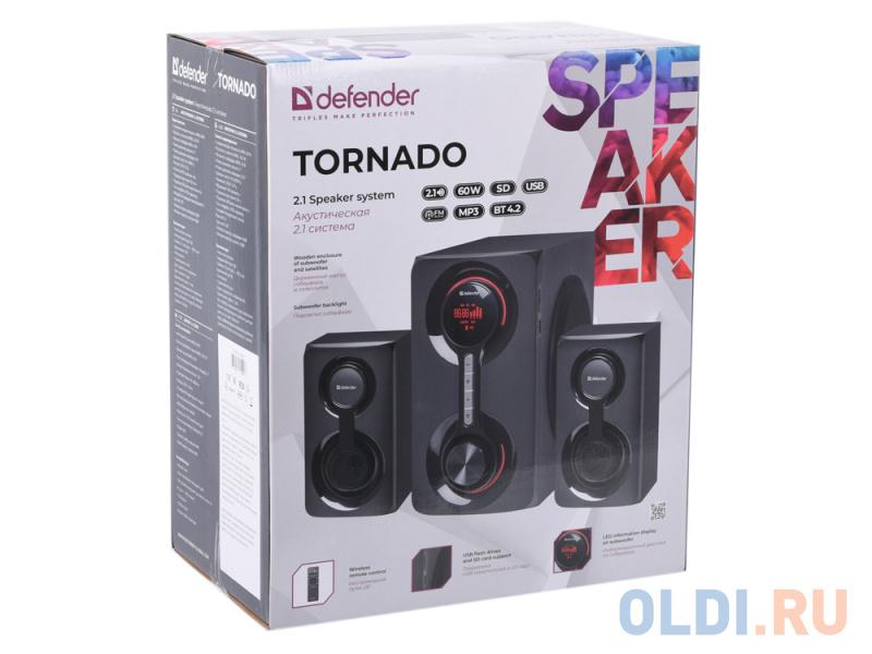 Фото - Колонки DEFENDER Tornado 2.1 60Вт, Bluetooth, FM/MP3/SD/USB колонки defender x420 чёрный 2x12 вт 16 вт 20 20 000 гц bluetooth fm mp3 sd usb ду