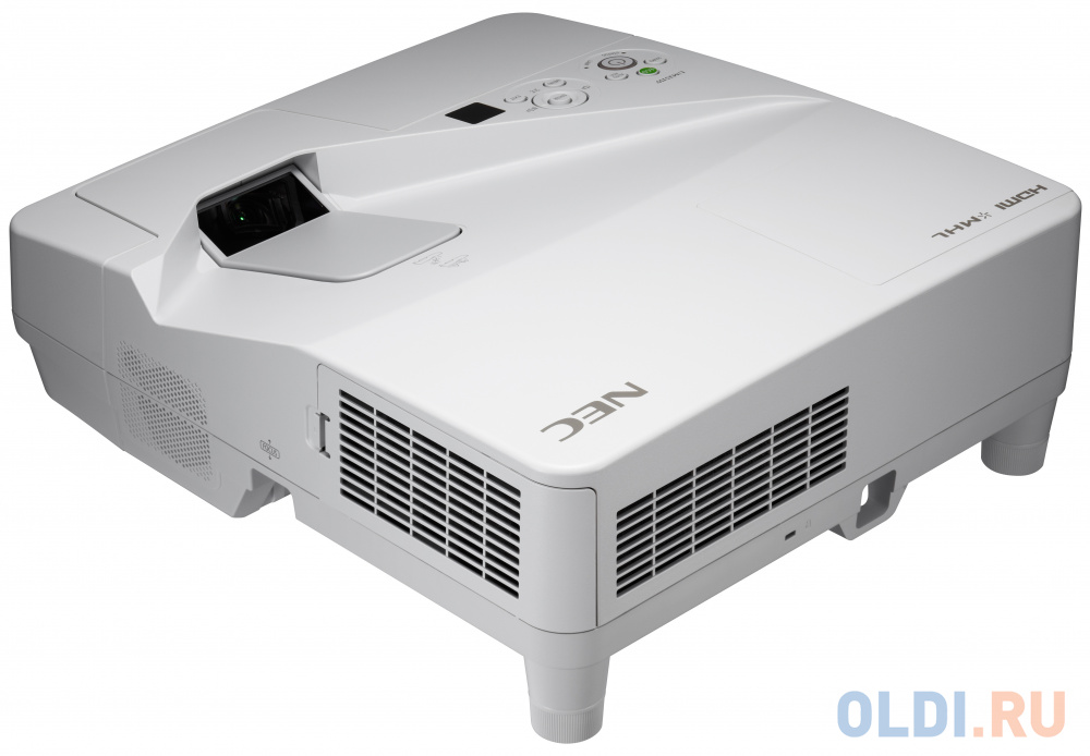 Фото - Проектор NEC UM301W (UM301WG+WM, UM301WG+WK) 3хLCD, 3000 ANSI Lm, WXGA, ультра-короткофокусный 0.36:1, 4000:1, HDMI IN x2, USB(A)х2, RJ45, RS232, 20W mono, 5.5 кг, настенный крепёж NP04WK проектор nec np um351w wk