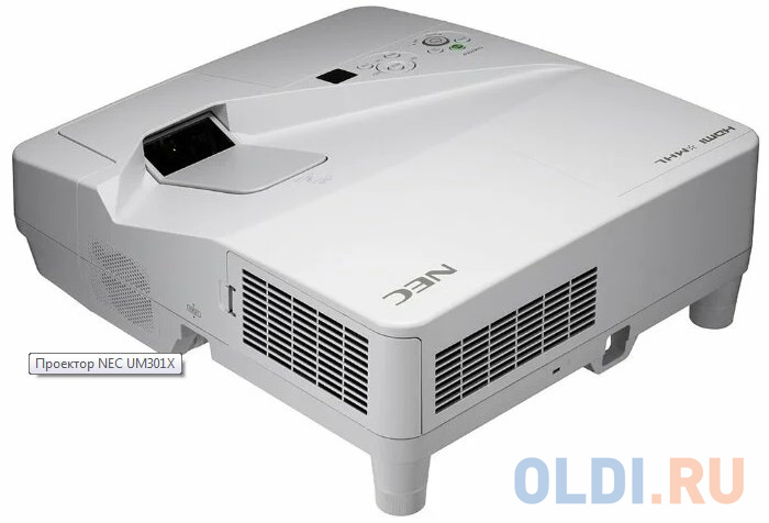 Фото - Проектор NEC UM301X (UM301XG+WM, UM301X+WM, UM301XG - WK) 3хLCD, 3000 ANSI Lm, XGA, ультра-короткофокусный 0.36:1, 6000:1, HDMI IN x2, USB(A)х2, RJ45, RS232, 20W mono, 5.5 кг, настенный крепёж NP04WK проектор nec np um351w wk