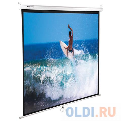 Фото - Экран настенно-потолочный BRAUBERG WALL 150 x 150 см 236725 экран переносной на штативе brauberg tripod 150 x 150 см 236729