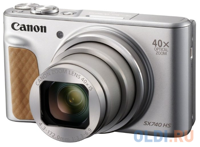 "Фотоаппарат Canon PowerShot SX740HS серебристый 21.1Mpix Zoom40x 3"" 4K SDXC/SD/SDHC CMOS 1x2.3 IS opt 1minF turLCD 10fr/s 30fr/s HDMI/WiFi/NB-13L"