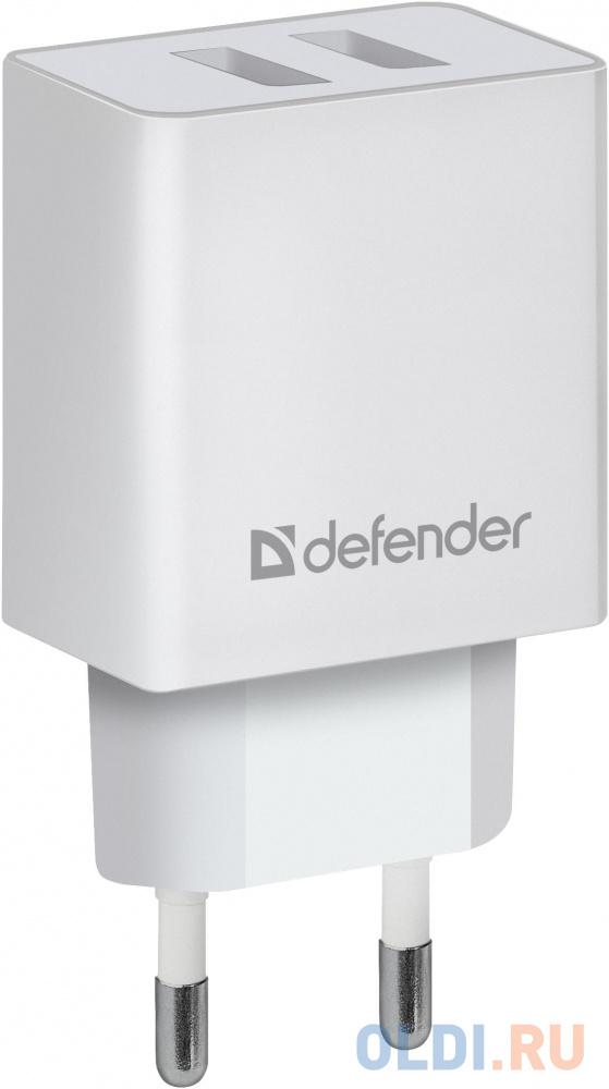 Фото - Сетевой адаптер Defender UPA-22 белый, 2xUSB, 2.1А зарядное устройство defender upa 22 2xusb black 83579