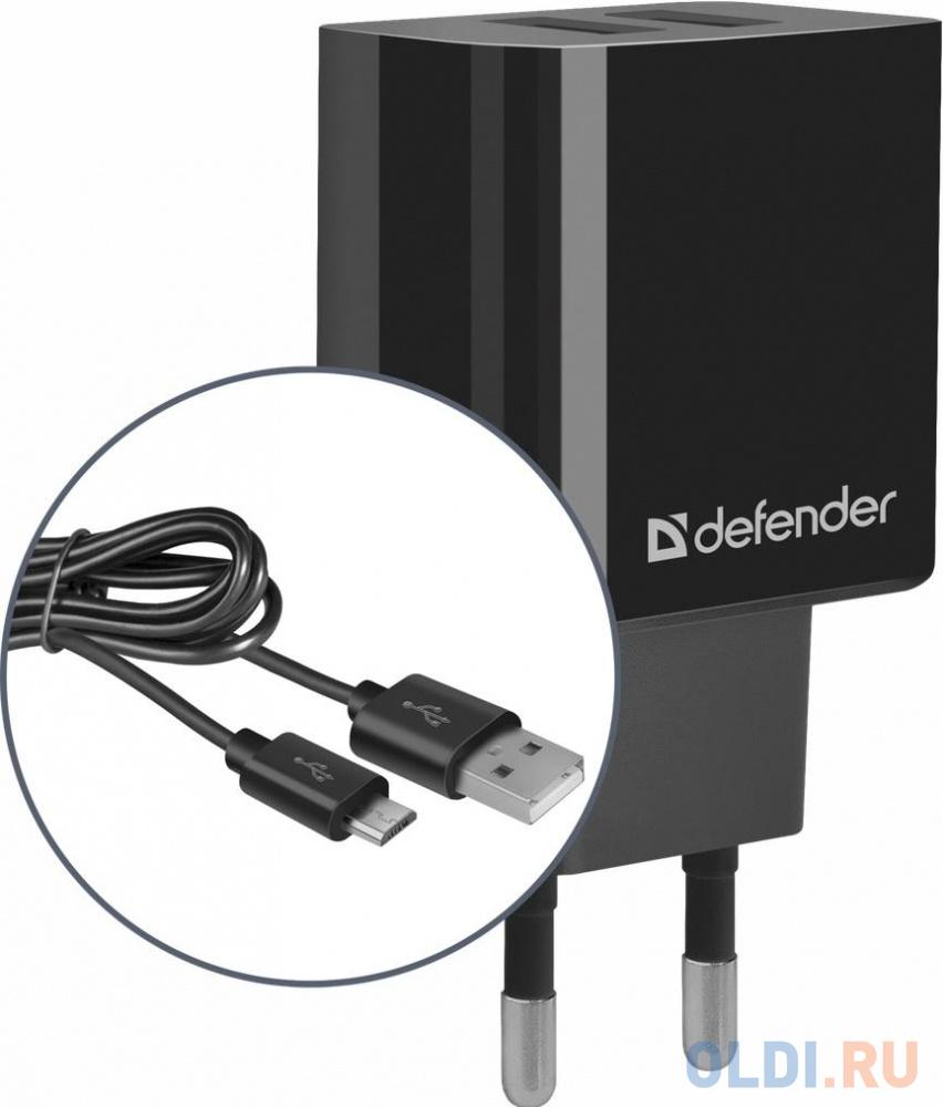 Сетевой адаптер Defender UPC-21 2xUSB,5V/2.1А кабель microUSB