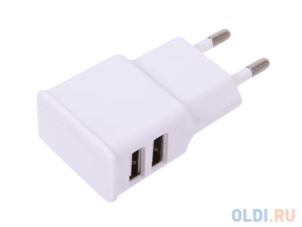 зарядное устройство cablexpert mp3a pc 07 220v 5v usb 1 порт 1a белый Зарядное устройство Cablexpert MP3A-PC-11 220V - 5V USB 2 порта, 2.1A, белый