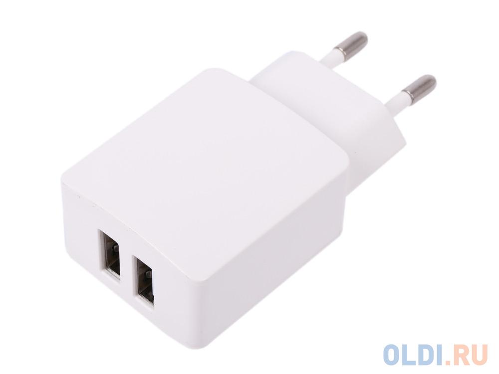 зарядное устройство cablexpert mp3a pc 07 220v 5v usb 1 порт 1a белый Зарядное устройство Cablexpert MP3A-PC-13 220V - 5V USB 2 порта, 2.1A, белый
