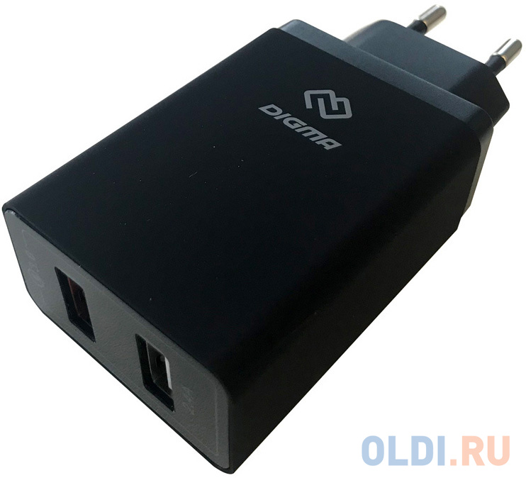 Сетевое зарядное устройство Digma DGWC-2U-QC3.0-BK 5.4А черный сетевое зарядное устройство digma dgwc 1u 2 1a bk 2 1a черный