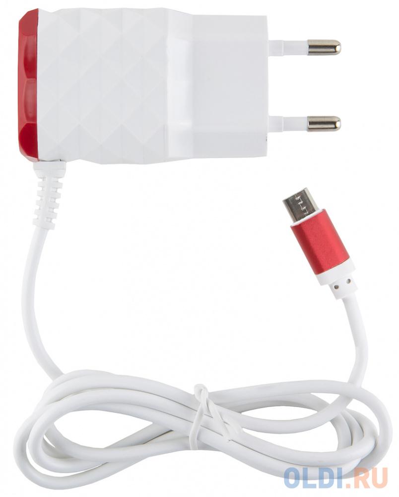 Сетевое зарядное устройство Red Line NC-2.1AC 2.1A microUSB белый красный УТ000013617 сетевое зарядное устройство red line 2 usb и microusb модель nc 2 1ac 2 1a черный