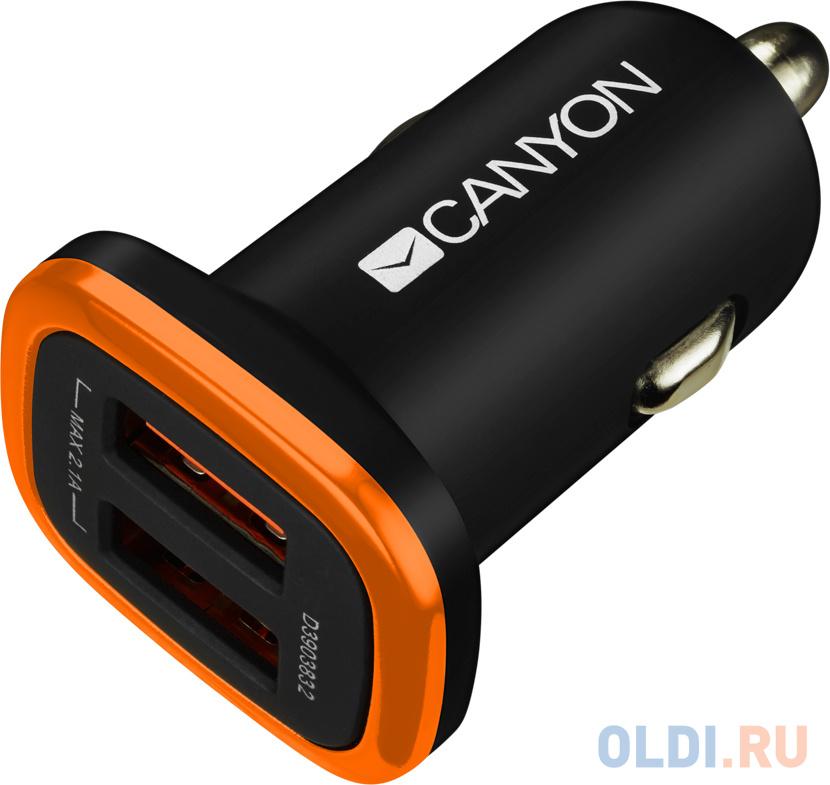 Автомобильное зарядное устройство Canyon CNE-CCA02B Black автомобильное зарядное устройство vipe vpcch34 black