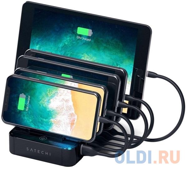 Зарядная док-станция Satechi 5-Port USB Charging Station Dock для мобильных устройств. Разъемы: USB 5В/2,4А - 4 шт., USB Qualcomm® Quick Charge™- 1 шт. Цвет черный. док станция hp usb c dock g4 3ff69aa