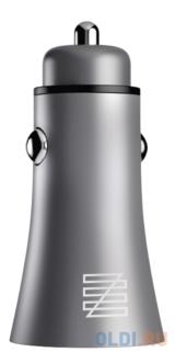Автомобильное зарядное устройство LENZZA Razzo Metallic Car Charger. Два порта USB 5В, 2,1А. Цвет графит. автомобильное зарядное устройство зарядное устройство usb универсальный несколько портов 2 usb порта 2 1 a dc 12v 24v