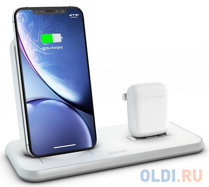 Беспроводное зарядное устройство ZENS Stand+Dock Aluminium Wireless Charge. Цвет белый. зарядное устройство momax q dock wireless ud2 white