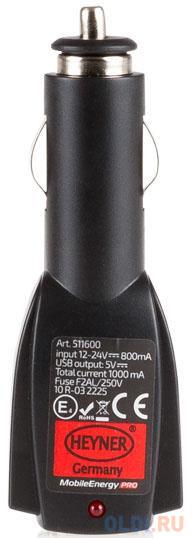 Автомобильное зарядное устройство Heyner 511600 0.8А 2 х USB черный