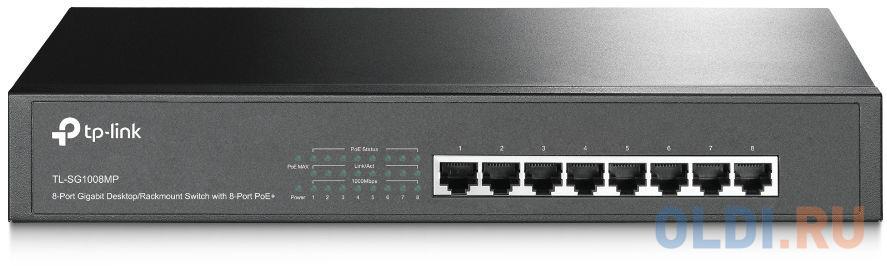 Коммутатор TP-LINK TL-SG1008MP 8-портовый настольный/монтируемый в стойку гигабитный коммутатор с 8 портами PoE+.