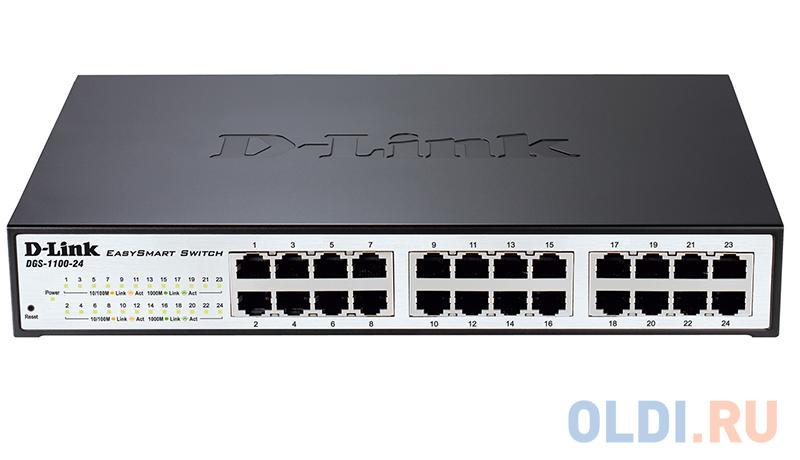 Фото - D-Link DGS-1100-24V2/A1A Настраиваемый компактный коммутатор EasySmart с 24 портами 10/100/1000Base-T коммутатор d link dgs 1100 24 me b2a управляемый 24 порта 10 100 1000mbps easysmart