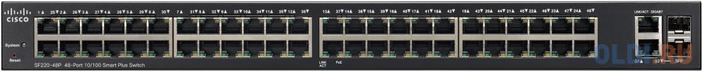 Коммутатор Cisco SB SF220-48P-K9-EU управляемый 48 портов 10/100/1000Mbps коммутатор cisco srw2016 k9 eu управляемый 20 портов 10 100 1000mbps 2xsfp