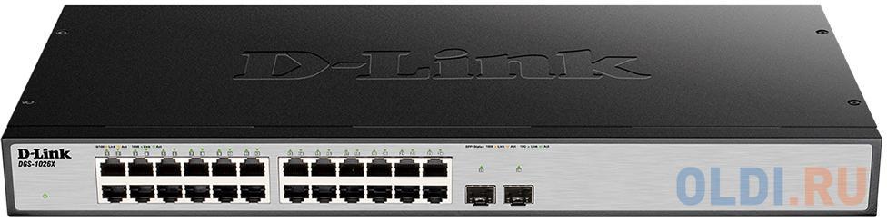 Фото - Коммутатор D-LINK DGS-1026X/A1A неуправляемый 24 порта 10/100/1000Mbps коммутатор d link dgs 1100 24 me b2a управляемый 24 порта 10 100 1000mbps easysmart