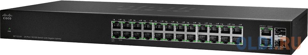 Коммутатор [SF112-24-EU] Cisco SB SF112-24 24-Port 10/100 Switch with Gigabit Uplinks коммутатор cisco sf110d 16hp 16 port 10 100 poe desktop switch