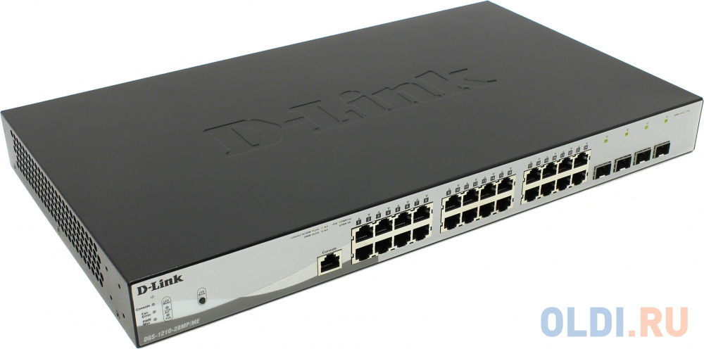 Фото - Коммутатор D-Link DGS-1210-28MP/ME/B1A Управляемый коммутатор 2 уровня с 24 портами 10/100/1000Base-T и 4 портами 1000Base-X SFP (24 порта с поддержко коммутатор d link dgs 1100 24 me b2a управляемый 24 порта 10 100 1000mbps easysmart