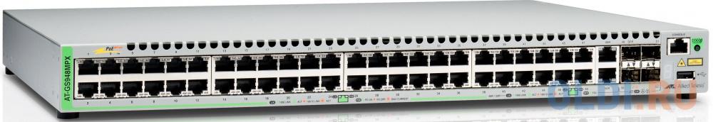 Коммутатор Allied Telesis AT-GS948MPX-50 управляемый 48 портов 10/100/1000Mbps 2xSFP коммутатор cisco srw2016 k9 eu управляемый 20 портов 10 100 1000mbps 2xsfp