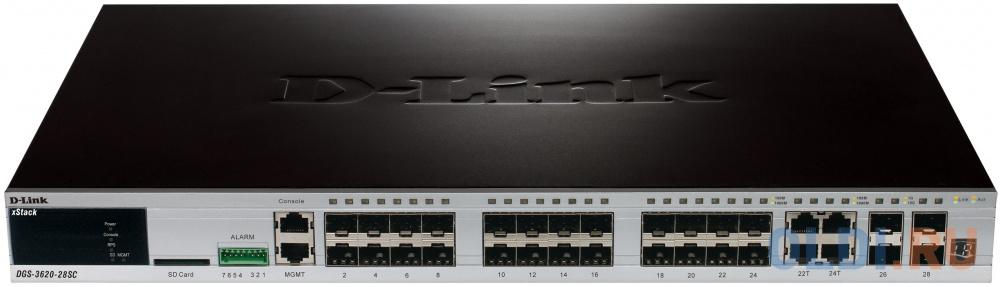 Фото - Коммутатор D-LINK DGS-3620-28SC/B1AEI, DGS-3620-28SC/B1AEI управляемый 24 порта SFP+ 4 Combo ports 10/100/1000Base-T/SFP коммутатор huawei s1720 28gwr 4p bundle 24 ethernet 10 100 1000 ports 4 gig sfp with license ac 110 220v