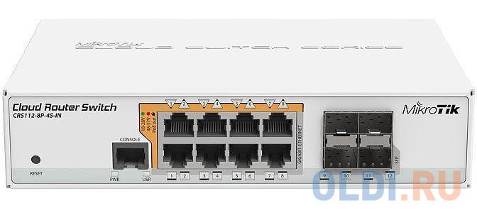 Коммутатор MikroTik CRS112-8P-4S-IN управляемый 8 портов 10/100/1000Mbps.