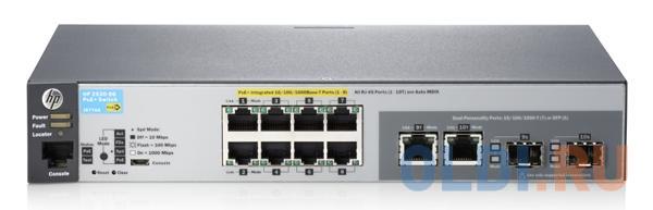 Коммутатор HP 2530-8G-PoE+ управляемый 8 портов 10/100/1000Mbps 2xSFP PoE J9774A коммутатор cisco srw2016 k9 eu управляемый 20 портов 10 100 1000mbps 2xsfp