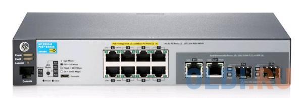 Коммутатор HP 2530-8-PoE+ управляемый 8 портов 10/100/1000Mbps 2xSFP PoE J9780A коммутатор cisco srw2016 k9 eu управляемый 20 портов 10 100 1000mbps 2xsfp