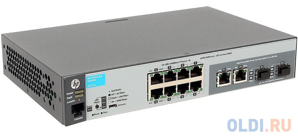 Коммутатор HP 2530-8G управляемый 8 портов 10/100/1000Mbps 2xSFP J9777A коммутатор cisco srw2016 k9 eu управляемый 20 портов 10 100 1000mbps 2xsfp