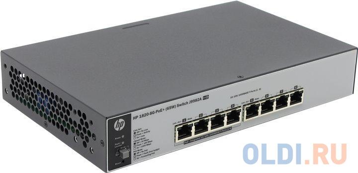 Коммутатор HP 1820-8G-PoE+ (65 Вт) (J9982A) Коммутатор второго уровня 8 портов 10/100/1000 (включая 4 порта PoE/PoE+). коммутатор hp 2530 8g poe j9774a