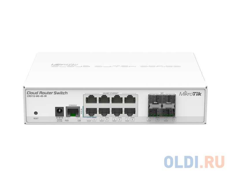 Коммутатор MikroTik CRS112-8G-4S-IN Cloud Router Switch 112-8G-4S-IN with QCA8511 400Mhz CPU 128MB RAM 8xGigabit LAN 4xSFP RouterOS L5 desktop ca.