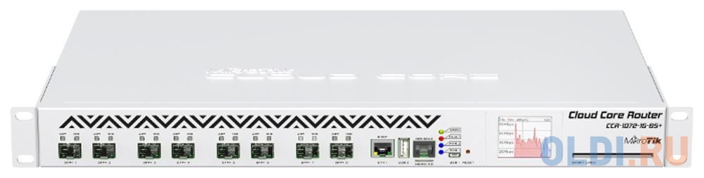 Фото - Маршрутизатор MikroTik CCR1072-1G-8S+ Cloud Core Router 1072-1G-8S+ with Tilera Tile-Gx72 CPU (72-cores, 1GHz per core), 16GB RAM, 8xSFP+ cage, 1xGbit ccr1036 8g 2s em r2 cloud core router 1036 8g 2s em with tilera tile gx36 cpu 36 cores 1 2ghz per core 16gb ram 2xsfp cage 8xgbit lan routeros l6 1u rackmount case dual psu lcd panel
