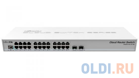 Коммутатор MikroTik CRS326-24G-2S+RM Cloud Router Switch 326-24G-2S+RM with 800 MHz CPU, 512MB RAM, 24xGigabit LAN, 2xSFP+ cages, RouterOS L5 or Switc