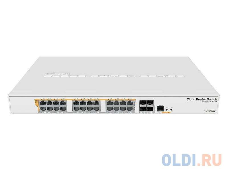 Коммутатор MikroTik CRS328-24P-4S+RM Cloud Router Switch 328-24P-4S+RM with 800 MHz CPU 512MB RAM 24xGigabit LAN (all PoE-out) 4xSFP+ cages Router.