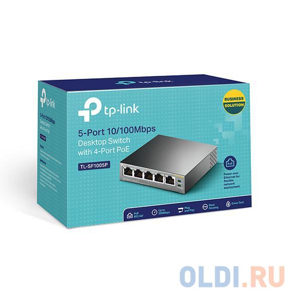 Фото - Коммутатор TP-LINK TL-SF1005P 5-портовый 10/100 Мбит/с настольный коммутатор с 4 портами PoE коммутатор tp link tl sf1008d 8 портовый 10 100 мбит с настольный коммутатор