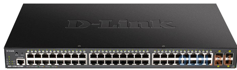 Фото - Коммутатор D-Link DGS-1250-52XMP/A1A 48G 4SFP+ 48PoE+ 370W настраиваемый коммутатор d link dgs 1250 52xmp a1a