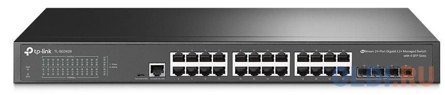 TP-Link TL-SG3428 24-Port Gigabit L2+ Managed Switch w 4 SFP Slots, 24? G RJ45 Ports, 4? G SFP Slots, RJ45/Micro-USB Console Port,Static Routing, OAM, 802.1Q VLAN, QinQ, STP/RSTP/MSTP, IGMP Snooping, 802.1p/DSCP QoS, ACL, 802.1x,Radius/Tacacs+, 1U